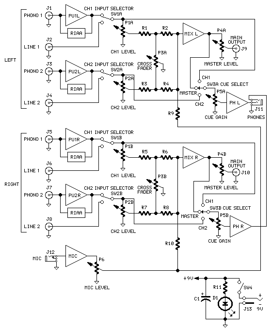 Audio Mixer Schematic Diagram