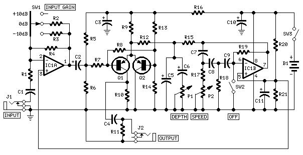 tremolo effect generator - red